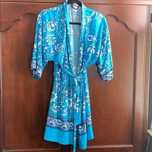 Blue printed robe